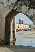 San Jose Battery courtyard (Spanish fort-1753), Baru island,  Cartagena de Indias, Bolivar Department,, Colombia, South America.
