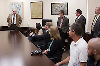 Edward Thomas, Warden at Central Prison, talks to a group before giving them a tour of the prison in Raleigh, NC on Thursday, November 17, 2016. (Justin Cook)