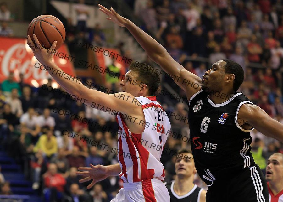 Kosarka ABA League season 2015-2016<br /> Crvena Zvezda v Partizan<br /> Gal Mekel (L) and Kevin Jones<br /> Beograd, 03.11.2015.<br /> foto: Srdjan Stevanovic/Starsportphoto&copy;