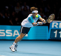 David Ferrer (ESP) (7) against Roger Federer (SUI) (2) in a Group B match. Roger Federer beat David Ferrer 6-1 6-4..International Tennis - Barclays ATP World Tour Finals - O2 Arena - London - Day 1 - Sun 21 Nov 2010..© Frey - AMN Images, Level 1, Barry House, 20-22 Worple Road, London, SW19 4DH.Tel - +44 208 947 0100.Email - Mfrey@advantagemedianet.com.Web - www.amnimages.photshelter.com