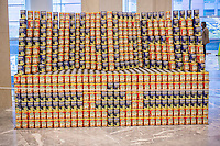 CAN You Spot the Issue? by Severud Assoc. in the 22nd annual Canstruction Design Competition in New York, seen on Monday, November 10, 2014, on display in Brookfield Place in Lower Manhattan. Architecture and design firm participate to design and build giant structures made from cans of food.  The cans are donated to City Harvest at the close of the exhibit. Over 100,000 cans of food were collected and will be used to feed the needy at 500 soup kitchens and food pantries. (© Richard B. Levine)