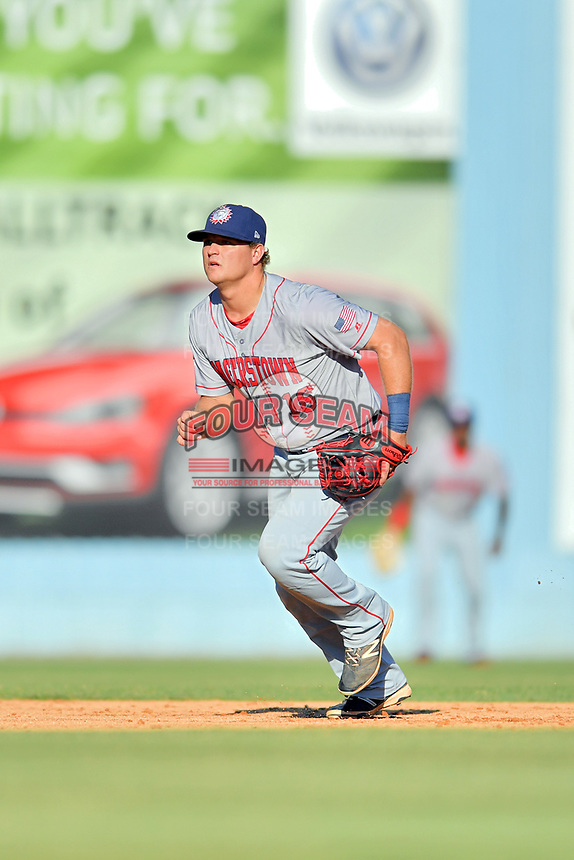 Hagerstown Suns shortstop Sheldon Neuse (16) reacts to the ball during a game against the  Asheville Tourists at McCormick Field on May 13, 2017 in Asheville, North Carolina. The Suns defeated the Tourists 9-5. (Tony Farlow/Four Seam Images)