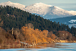 The Kootenai River near Bonners Ferry with the Purcell mountains covered with snow
