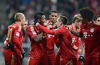 FUSSBALL   1. BUNDESLIGA  SAISON 2012/2013   21. Spieltag  FC Bayern Muenchen - FC Schalke 04                     09.02.2013 Torjubel: David Alaba, Franck Ribery und Dante (v.l., alle FC Bayern Muenchen)