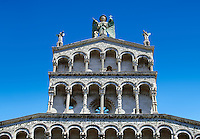 Upper arcades of the 13th century Romanesque facade of the San Michele in Foro,  a Roman Catholic basilica church in Lucca, Tunscany, Italy