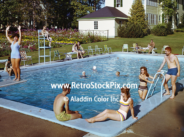 Bethel Inn. Bethel, Maine - 1960's  Families by the pool.