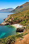 Isolated cove beach at Riserva Naturale dello Zingaro [ Zingaro nature reserve ] Scopello, Castellammare Del Golfo , Sicily.