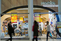 "Liquidation signs adorn the ""Marbles, The Brain Store"" location in the Westfield Mall in New York on Friday, February 17, 2017. The chain suffered a poor 2016 and has filed for Chapter 11 bankruptcy protection and is shuttering all 37 of its stores nationwide. The company will now focus on e-commerce, wholesale and monetizing its intellectual property.  (© Richard B. Levine)"