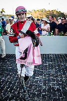 OLDSMAR, FLORIDA - FEBRUARY 11: Brian Joseph Hernandez (pink hat), in the winners circle, after he wins the Sam F. Davis Stakes, and sets a new track record at Tampa Bay Downs on February 11, 2017 in Oldsmar, Florida (photo by Douglas DeFelice/Eclipse Sportswire/Getty Images)