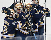 The Irish celebrate. - The visiting University of Notre Dame Fighting Irish defeated the Boston College Eagles 7-2 on Friday, March 14, 2014, in the first game of their Hockey East quarterfinals matchup at Kelley Rink in Conte Forum in Chestnut Hill, Massachusetts.