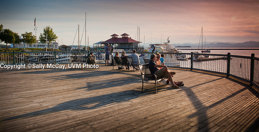 Burlington, Vermont. Lake Champlain Waterfront. Burlington, Vermont and Lake Champlain