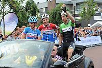 WIELRENNEN: SURHUISTERVEEN: 05-08-2014, Profronde Surhuisterveen, Tom-Jelte Slagter, Sebastian Langeveld en Bauke Mollema, ©foto Martin de Jong