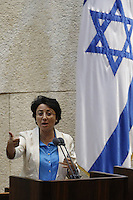 MK Hanin Zoabi during a vote on the so-called governability law. The governance law would raise the electoral threshold from 2 percent to 4 percent. Photo by Oren Nahshon