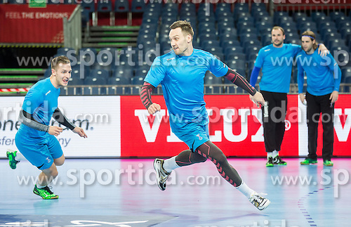 Gasper Marguc of Slovenia and Luka Zvizej of Slovenia during practice session of Team Slovenia on Day 1 of Men's EHF EURO 2016, on January 15, 2016 in Centennial Hall, Wroclaw, Poland. Photo by Vid Ponikvar / Sportida