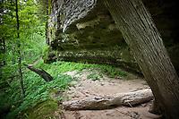 A hiking trail along sandstone cliffs in Pictured Rocks National Lakeshore near Munising, Michigan in Michigan's Upper Peninsula.