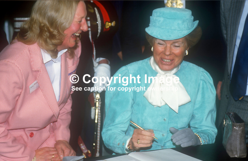 Duchess of Kent shares a joke with Olympic Gold Medalist, Mary Peters during the Duchess&rsquo;s visit to N Ireland February 1986. 1986020506<br />