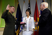 United States Marine General James E. Cartwright is sworn in as the next vice chairman of the Joint Chiefs of Staff by U.S. Secretary of Defense Robert M. Gates with the assistance of his wife Sandee Cartwright at the Pentagon, August 31, 2007.  Cartwright is a target of a Justice Department investigation into a leak of information about a covert U.S.-Israeli cyberattack on Iran&rsquo;s nuclear program.<br /> Mandatory Credit: Cherie A. Thurlby / DoD via CNP