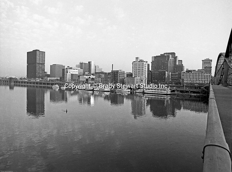 Pittsburgh PA:  View of Pittsburgh and the Gateway Clipper Fleet from the Smithfield Street Bridge - 1970.
