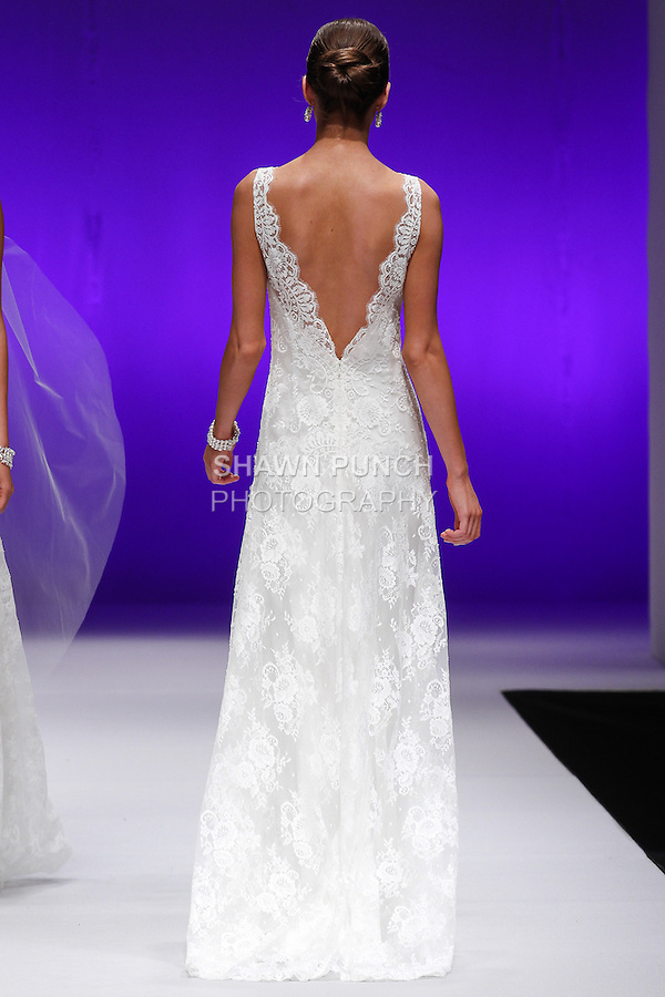 Model walks runway in a bridal gown from the Anais Anette collection, for The Designer Spotlight Fashion Show, during NY International Bridal Week Spring 2015.