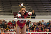 STANFORD, CA, March 3, 2014: Stanford Women's Gymnastics versus Cal at Stanford. Stanford won 196.750 to 196.025
