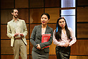 """London, UK. 22.03.2017. """"CHINGLISH, by David Henry Hwang, opens at the Park Theatre. Directed by Andrew Keates, with lighting design by Christopher Nairne and set and costume design by Tim McQuillen-Wright. Picture shows:  Duncan Harte (Peter Timms), Candy Ma (Xi Yan), Siu-see Hung (Qian). Photograph © Jane Hobson."""