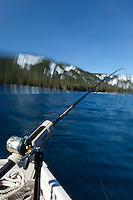 """Fishing Pole at Lake Tahoe 9"" - Photograph of a fishing pole on Lake Tahoe, CA. The seasick motion effect was achieved by using a tripod on the moving boat with a long exposure."