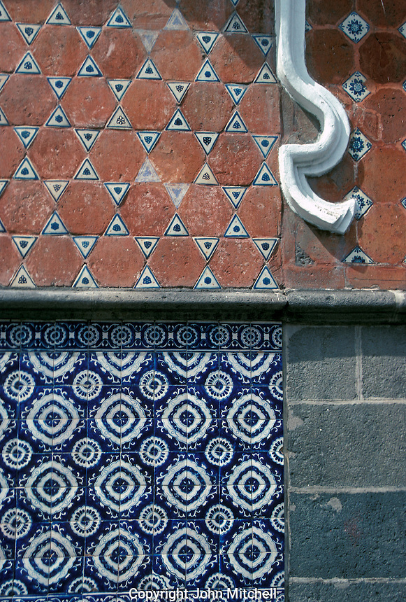 Talavera tiles on the exterior wall of a Spanish colonial building in the city of Puebla, Mexico