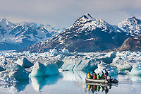 Tourists from the M/V Discovery, view stranded icebergs from the Columbia glacier in Columbia bay in northern Prince William Sound, Chugach mountains in the distance.