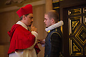London, UK. 14.01.2014. The new Sam Wanamaker Playhouse, at Shakespeare's Globe, opens with The Duchess of Malfi, by John Webster, directed by Dominic Dromgoole. Picture shows: James Garnon (Cardinal) and Giles Cooper (Silvio). Photograph © Jane Hobson.