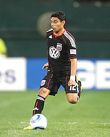 Cristian Castillo #12 of D.C. United runs onto the ball during an MLS match against the New England Revolution on April 3 2010, at RFK Stadium in Washington D.C.