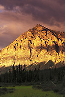 Late evening sun shines on the rugged face of Mt Dillon, Brooks range, Alaska