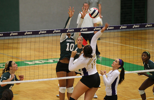 Denton, TX - AUGUST 24: University of North Texas volleyball team v Prairie View, Texas A&M, NT sweeps Prairie View three games at University of North Texas Volleyball Complex in Denton on August 24, 2012 in Denton, Texas. (Photo by Rick Yeatts)