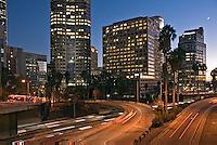 US 110, Harbor Freeway, LA, skyline, Dusk, Los Angeles, California, USA