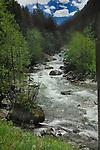Fast flowing river in the mountains. Stuibenfall, ötztal, Tyrol, Tirol, Alps Austria,