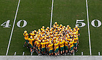 07 JAN 2012: North Dakota State University huddles up on the field before taking on Sam Houston State during the Division I Men's FCS Football Championship held at Pizza Hut Park in Frisco, TX. North Dakota State beat Sam Houston State 17-6 for the national title. Tom Pennington/ NCAA Photos