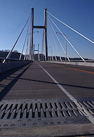 An expansion joint in a suspension bridge.