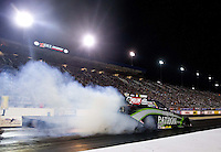 Sep 13, 2013; Charlotte, NC, USA; NHRA funny car driver Alexis DeJoria during qualifying for the Carolina Nationals at zMax Dragway. Mandatory Credit: Mark J. Rebilas-
