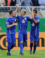 FUSSBALL   DFB POKAL   SAISON 2011/2012  1. Hauptrunde VfB Oldenburg - Hamburger SV                             30.07.2011 Torschuetze Sebastian FERRULLI (Mitte, Oldenburg) jubelt nach seinem Tor zum 1:1
