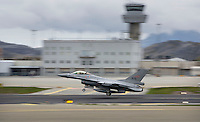 A Norwegian F-16 fighter jet takes off from Bod&oslash; air station  in Norway. The military Arctic Challenge Exercise 2015 (ACE 15) is a large crossborder exercise, with flying in Norway, Sweden and Finland. Airforce aircraft from these countries as well as NATO aircraft from Germany and Great Britain train together in a vast airspace.<br /> (photo: Fredrik Naumann/Felix Features)