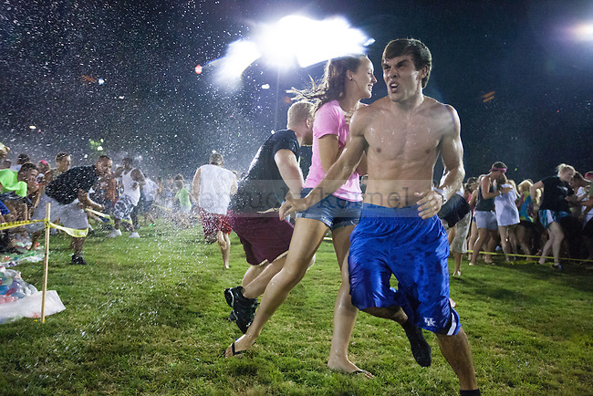 The World's Largest Water Balloon Fight put on by the Christian Student Fellowship on the Johnson Center Fields at the University of Kentucky on Aug. 24, 2012. Photo by Adam Chaffins | Staff