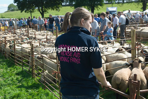 Teen girl Young Farmer. Priddy Sheep Fair Somerset Uk 2009.