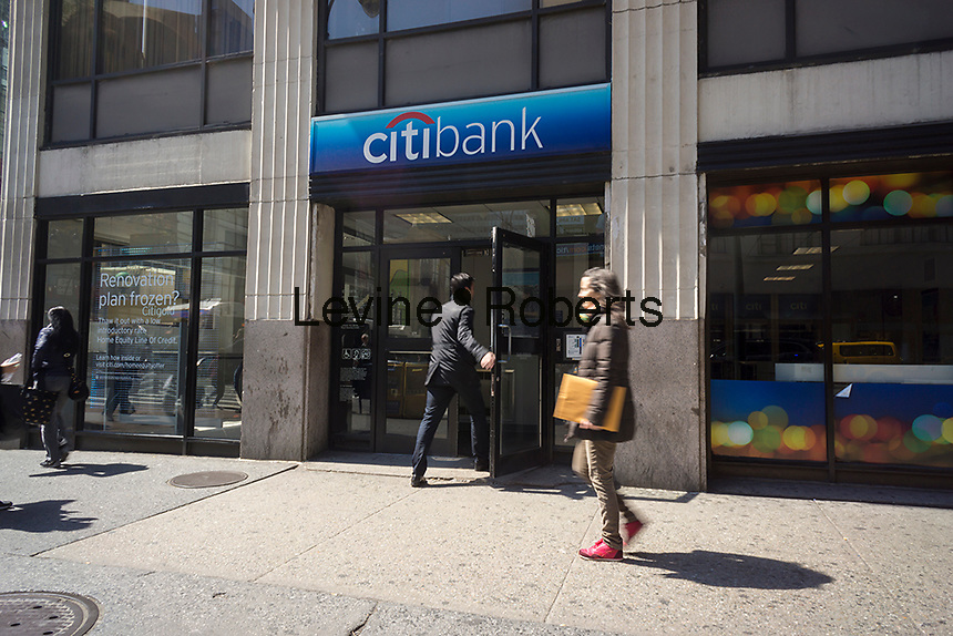 A branch of Citibank in New York on Monday, April 11, 2016. The big four banks, JPMorgan Chase, Bank of America, Wells Fargo and Citigroup report first-quarter earnings this week which are expected to be the worst since the start of the Great Recession. (© Richard B. Levine)