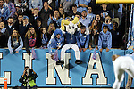 17 October 2015: UNC mascot Rameses watches game action with the fans. The University of North Carolina Tar Heels hosted the Wake Foresst University Demon Deacons at Kenan Memorial Stadium in Chapel Hill, North Carolina in a 2015 NCAA Division I College Football game. UNC won the game 50-14.