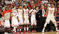 Players on the Ohio State bench point to LaQuinton Ross (10) during the second half against against North Florida Friday, Nov. 29, 2013, in Columbus, Ohio. (Photo by Terry Gilliam)