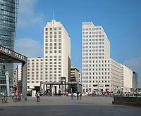 High rise buildings and entrances to the Bahnhof or train station on Potsdamer Platz, Berlin, Germany. Picture by Manuel Cohen