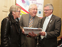 21/03/14 (L-R)Patrick Griffen education officer,Bernard Durkan TD and Pat Clarke CEO pictured at World Down Syndrome Day ,The National Advisory Council who are adults with Down syndrome are going to be delivering their manifesto to a bunch of TD's and MEPs and handing out fliers etc.Pictured at Buswells Hotel,Co Dublin this afternoon… Pic STEPHEN COLLINS/Collins Photos