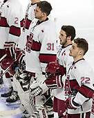 Merrick Madsen (Harvard - 31), Alexander Kerfoot (Harvard - 14), Devin Tringale (Harvard - 22) - The Harvard University Crimson defeated the Air Force Academy Falcons 3-2 in the NCAA East Regional final on Saturday, March 25, 2017, at the Dunkin' Donuts Center in Providence, Rhode Island.