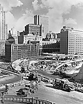 Pittsburgh PA: View of the crosstown boulevard (interstate 579) construction in 1961.  This federal project was part of the Renaissance I development in Pittsburgh.  The project was to alliviate traffic from the new Civic Arena.