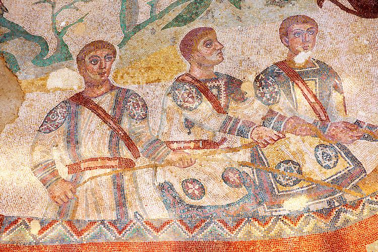 Fishermen - Ancient Roman mosaics at the Villa Romana del Casale, Sicily, Italy Pictures, Photos, Images & fotos