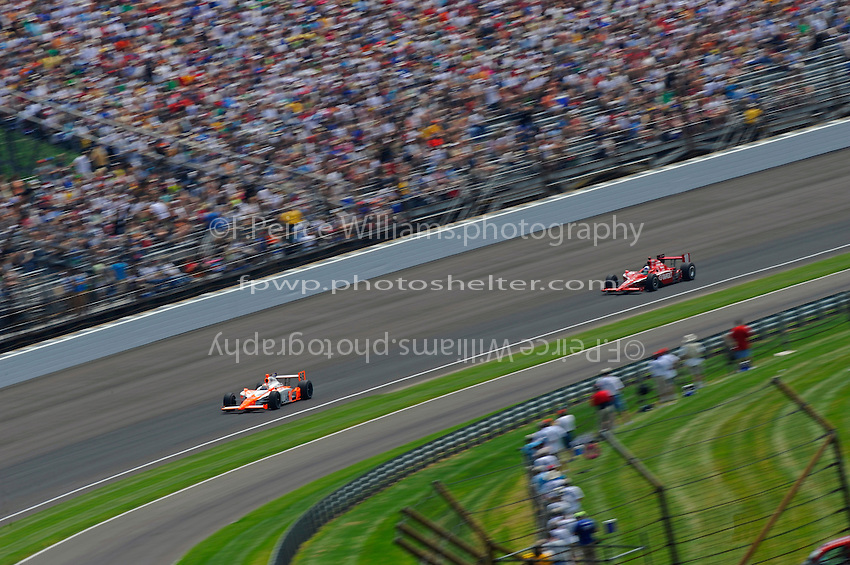 29 May, 2011, Indianapolis, Indiana, USA .Eventual winner Dan Wheldon (#98) leads Dario Franchitti (#10)..©2011, F. Peirce Williams.